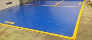 Blue yellow floor coating